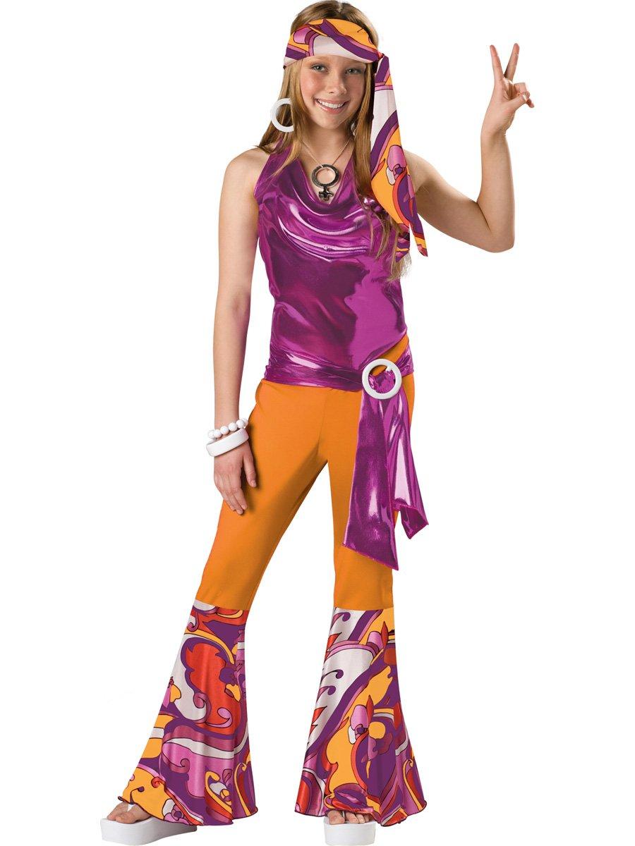 Girl's 70's Costume : Child Girl's Disco Halloween Costume (med 10-12yrs)