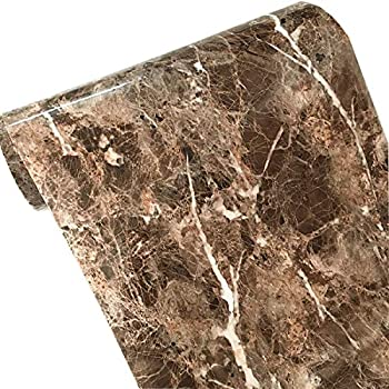UPREDO Adhesive Marble Paper Granite Look Marble Effect Countertops Gloss Paper Vinyl Film 12inch by 79inch (Brown)
