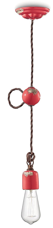Ferroluce Retro Hängeleuchte Minimal Vintage 5.5 cm glänzend rot