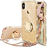 iPhone X Case, iPhone 10 Case, Glitter Cute Phone Case Girls with Kickstand, Bling Diamond Rhinestone Bumper Ring Stand Thin Soft Protective Sparkly Luxury Apple iPhone X Case for Girl Women - Gold