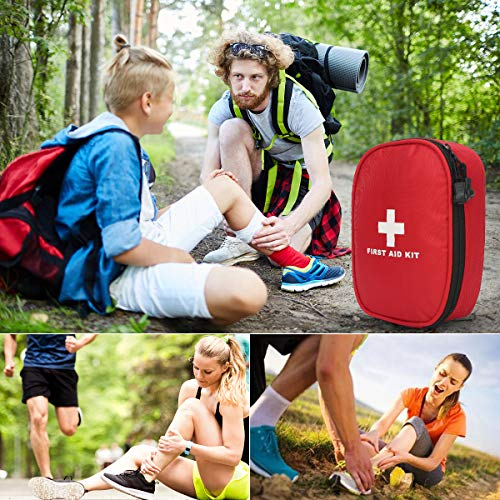 FORETOO First Aid Kit,147 Piece Waterproof Portable Personal Kit with Poison Remover for Emergency Situations at Home Office Car Cycling Hiking Hunting Camping Travel and School