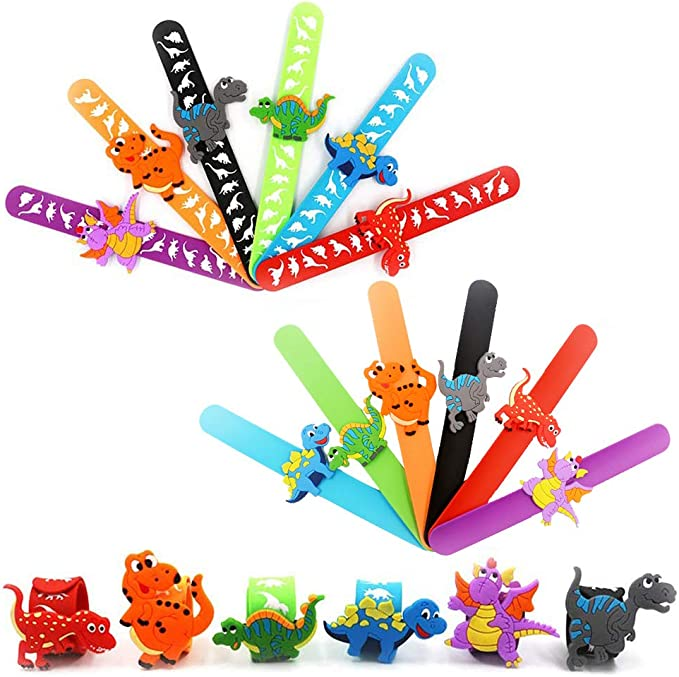 Slap Bracelet, Dinosaur Slap Bracelet Juego de Brazaletes de Bofetadas Desmontables Divertidas, de Moda, Púrpura, Naranja, Negro, Azul, Azul y Rojo, Pulseras de Silicona para Niños, Niñas, 12 Piezas.: Amazon.es: Juguetes y