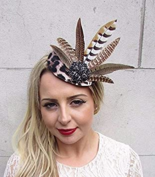 595a9e9faad61 Starcrossed Boutique Black Brown Leopard Print Pheasant Feather Fascinator  Pillbox Races Hat 3679