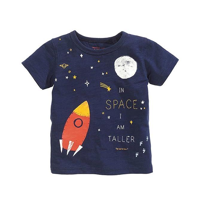 Espacio Gracioso Imprimir Camisetas Niño Manga Corta 3-7 Años  Amazon.es   Ropa y accesorios df3ea28749ae1