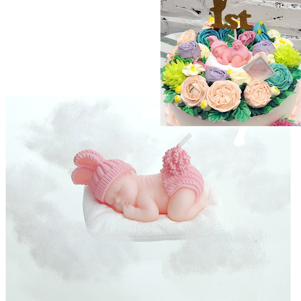 Beyonder Children's Birthday Candles with Greeting Card,Handmade Adorable Sleeping Baby Smokeless Baby Shower Baby Birthday Cake Topper Candle, Baby Shower Party Favors Decorations (1, Pink Girl)