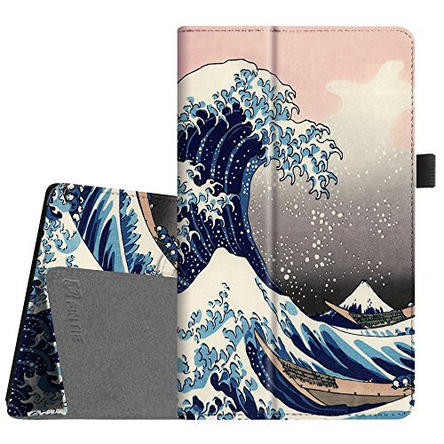 Fintie Folio Case for All-New Amazon Fire HD 8 Tablet (Compatible with 7th and 8th Generation Tablets, 2017 and 2018 Releases) - Slim Fit Premium Vegan Leather Standing Protective Cover, Rough Sea (Case Kindle Print)