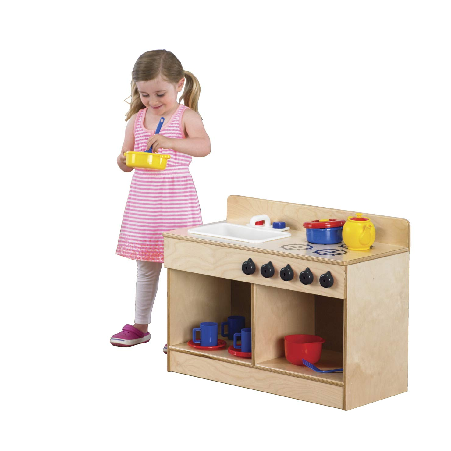 Childcraft 1491196 Toddler Sink and Stove Combo, 21.5'' Height, 13.38'' Width, 29.5'' Length, Natural Wood