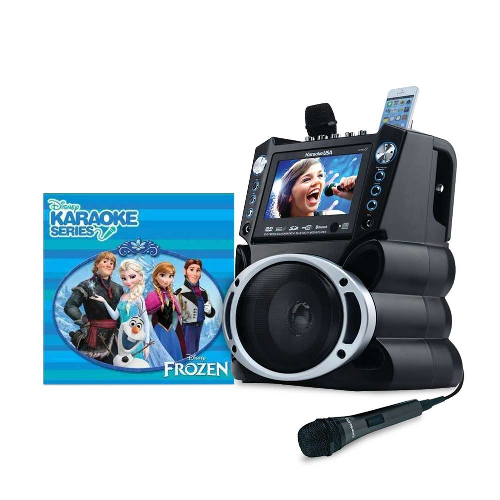 Karaoke USA GF840 Portable System, Black with Disney Karaoke Frozen