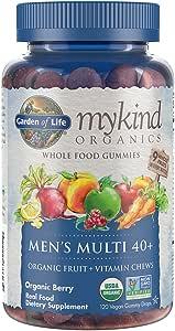 Garden of Life - mykind Organics Men 40+ Gummy Vitamins - Berry - Certified Organic, Non-GMO, Vegan, Kosher Complete Multi - Methyl B12, C & D3 - Gluten, Soy & Dairy Free - 120 Real Fruit Gummies