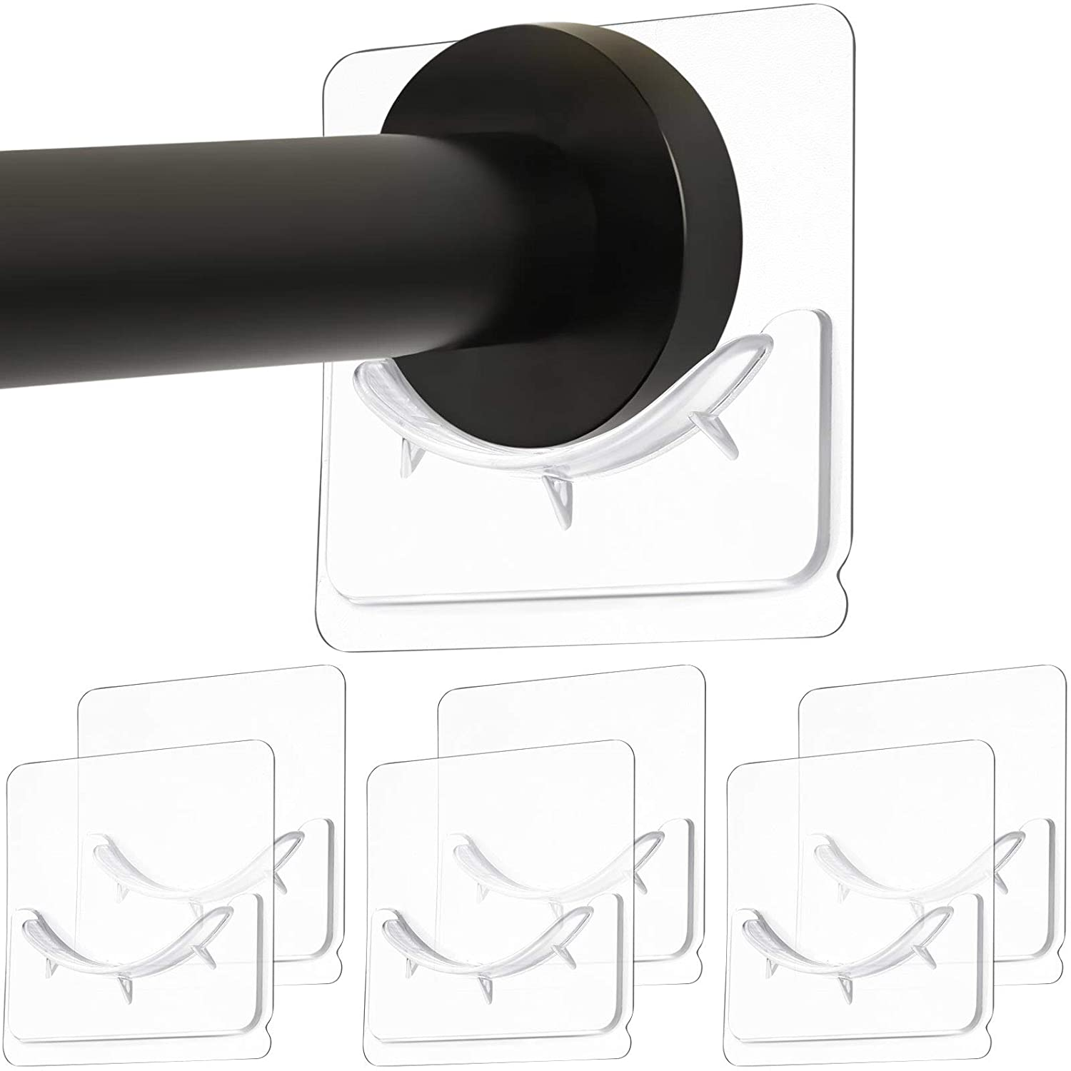 Adhesive Rod Mount Retainer Not Include Shower Curtain Rod Adhesive Wall Mounted Shower Rods Holder Drill-Free Install Transparent 6 Piece Adhesive Shower Curtain Rod Holder No Drilling
