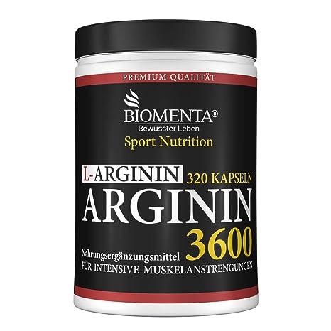 BIOMENTA L-ARGININ 3600 | AKTIONSPREIS!!! | 320 Arginin Kapseln hochdosiert | REINES L-ARGININ HOCHDOSIERT | OHNE Magnesiumst