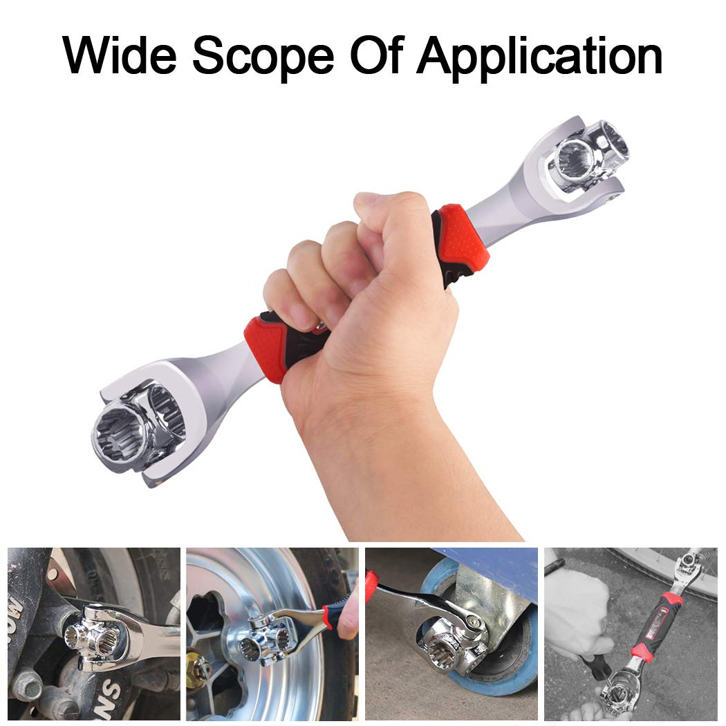 GGIENRUI Universal Wrench 48 in 1 Socket Wrench Multifunction Spanner Tool with 360 Degree Rotating Head for Home and Car Repair