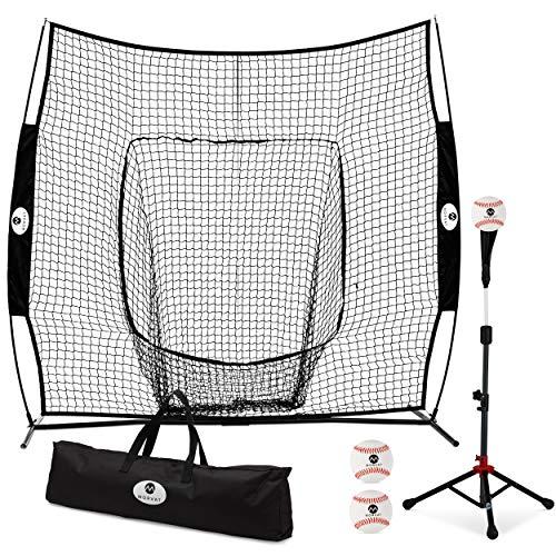 (Morvat Baseball Net and Baseball Tee Bundle, Baseball Pitching Net, Baseball Training Equipment for Hitting and Pitching, Baseball Accessories, Bownet | Includes 3 Softballs and Carry Bag, 7'x7')
