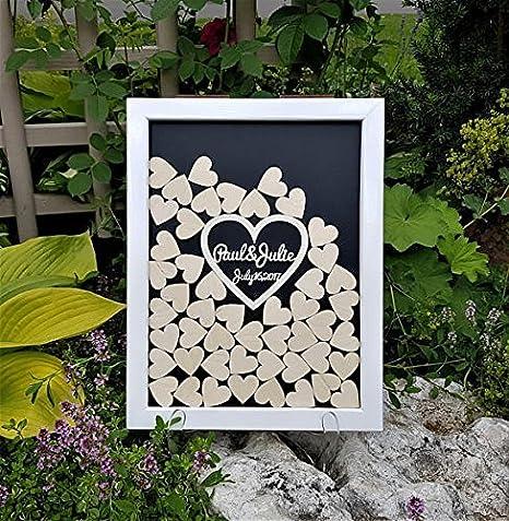 cadre en bois Michell63bentham Cadre pour livre d/'or de mariage personnalis/é avec les pr/énoms du couples en 3D dans un c/œur rustique