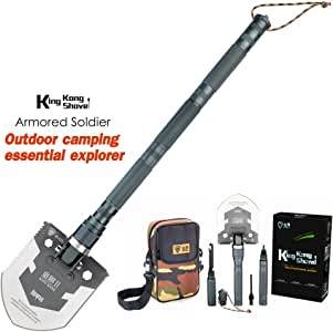 Multifunctional Folding Tactical Utility Sapper Trenching Shovel with Knife, Saw, Survival Whistle, Wire Cutter, Cleaver, Window Breaker Kit for Camping, Hunting, Hiking, Car Emergency Tools