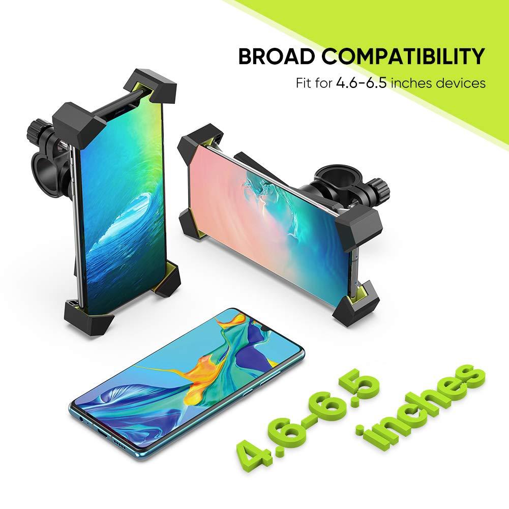 iPhoneX// 8 UGREEN Soporte Movil Moto Bicicleta Manillar Universal Soporte Tel/éfono M/óvil Motocicleta Bici 360/° Rotaci/ón Ajustable para 4.7-6.5 Smartphone Xiaomi Redmi 7// Note 7 Samsung S9