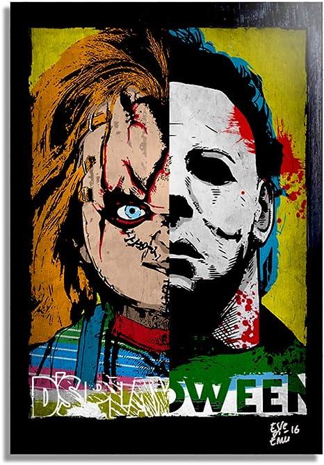 Chucky Y Michael Myers Pop Art De Original Diseño Fine Art Cuadro Imagen Sobre Lona Obras De Arte Póster De La Película Halloween Horror Home Kitchen