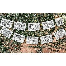 Tradicionales de plástico blanco papel picado–Tamaño Mediano–Ideal para bodas, bautizos, y cumpleaños de papel por llena de deseos