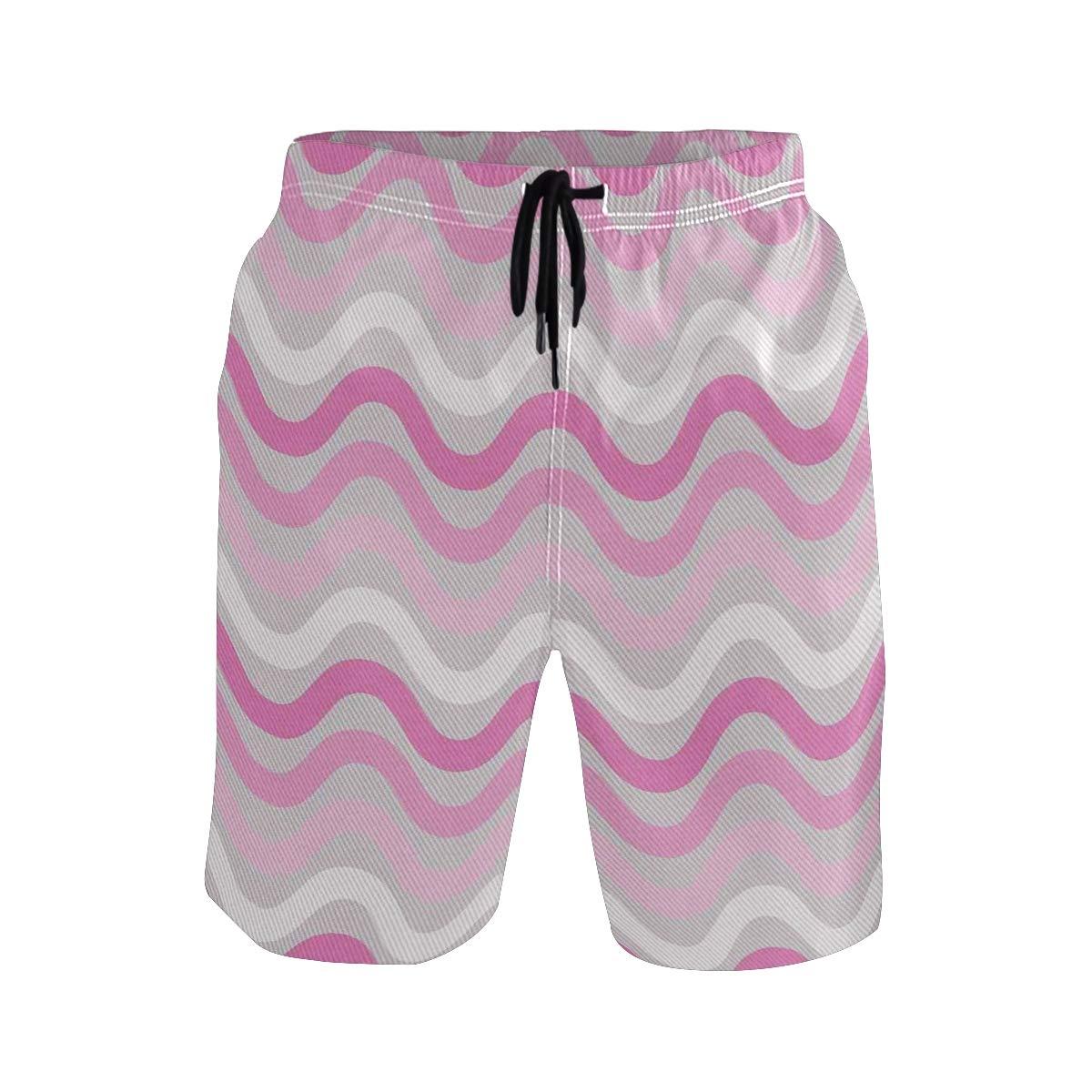 COVASA Mens Summer ShortsHorizontal Wavy Stripes Repeating Abstract Curves Pas