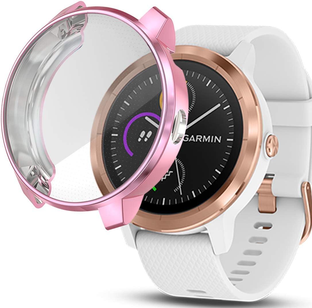 iHYQ Screen Protector Case for Garmin Vivoactive 3 Music,Unti-Shock TPU Full Cover Protector for Garmin Vivoactive 3 Music Smartwatch Accessory(Pink, ...
