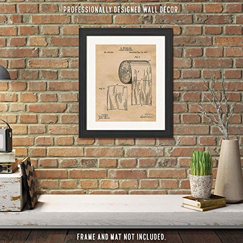 Vintage Toilet Paper Patent Poster Prints, Set of 1 (11x14) Unframed Photo, Wall Art Decor Gifts Under 15 for Home, Man Cave, Bathroom, Garage, Office, Studio, Bar, College Student, Teacher, Fan