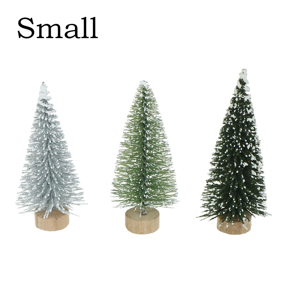 Haodeba 15Pcs Miniature Pine Trees Sisal Trees with Wood Base Christmas Tree Set Tabletop Trees for Miniature Scenes, Christmas Crafting and Designing, Small Noxus Bros