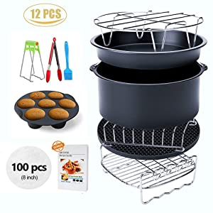 Ptsaying Air Fryer Accessories XL 12 sets, For Phillips deep Fryer Accessories and Gowise Air Fryer Accessories Fit all 4.2QT, 5.3QT, 5.8QT,6.8QT, Set of 12 (12sets 8inch)