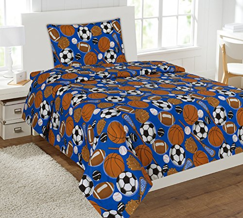Price comparison product image Mk Collection 4pc Full Size Sheet Set Sports Dark Blue Baseball Basketball Football Soccer New