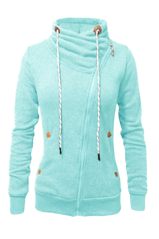 d2a86064c1b2 60%OFF Kisscy Women s Flunnel Neck Inclined Zip Cotton Fleeces Hoodies  Hooded Sweatshirt