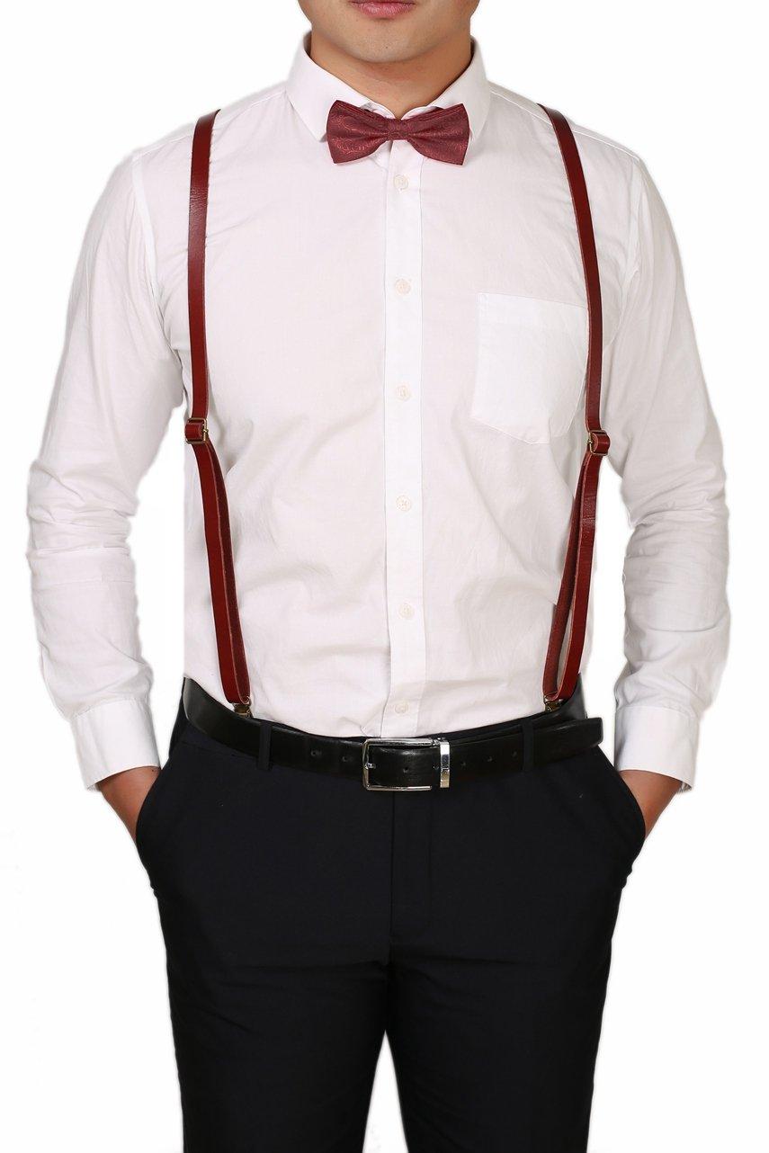 ROCKCOW Leather Suspenders for Men - Fashion Y Back Suspender Set, Groomsman Wedding Suspenders