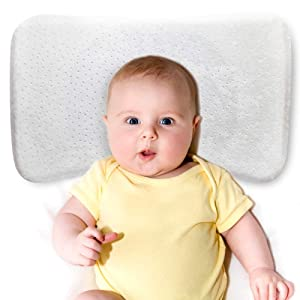 "GENERAL ARMOR Memory Foam Baby Pillow with Cooling Gel for Aged 0-3, Toddler Kids Newborn Baby Head Shaping Pillow with Pillowcase and Cooling Gel Pad, 12""x20"""