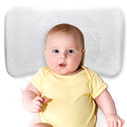 Almohada Bebe- Cojin Bebe, Cojin Plagiocefalia Desenfundable para Prevenir/Curar la Cabeza Plana in Memory Foam