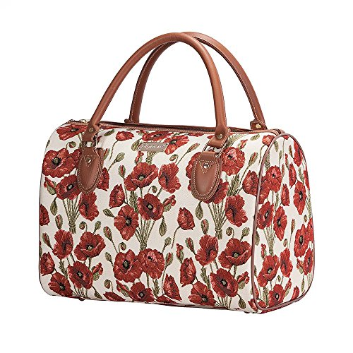 Signare Tapestry Red and White Women Weekender Hand Luggage Overnight Bag Poppy Flower (TRAV-POP)