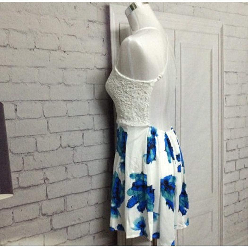 rateim Women Sweet Strap Jumpsuit Lace Stitching Print Jumpsuit Jumpsuits /& Rompers