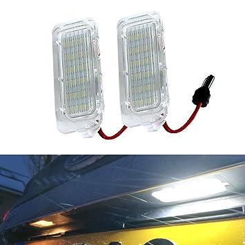 YUGUIYUN Luces de matrícula LED de iluminacion 18 LED Error Free Xenon Blanco Bombilla de Coche