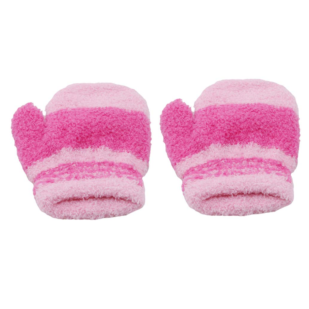 KISSFRIDAY Little Girls and Infants Magic Stretch Mittens Stripe Pink