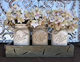 Pallet Kitchen Table Mason Canning JARS in Wood RIVER ROCK Gray Blue Tray Centerpiece with 3 Ball Pint Jar -Kitchen Table Decor -Distressed Rustic -Hydrangea Flowers (Optional) -COFFEE, CREAM, SAND Painted Jars (Pictured)