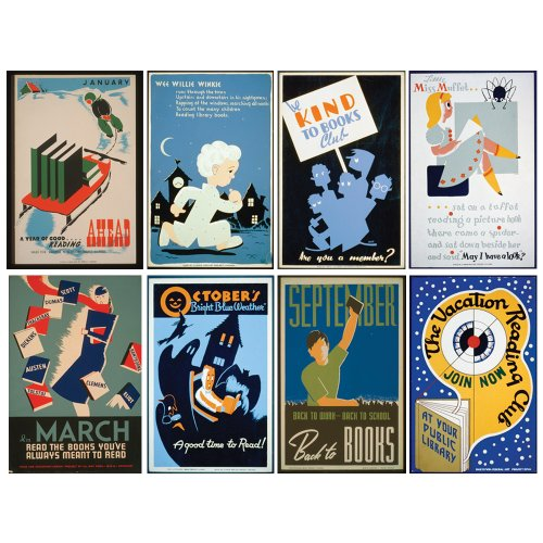 Knowledge Unlimited Historic Reading Educational Posters. Set of Eight Literacy Art Prints