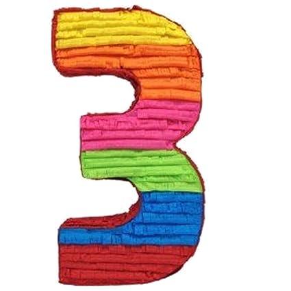Amazon.com: Tercer cumpleaños número 3 Piñata, diseño de 3rd ...