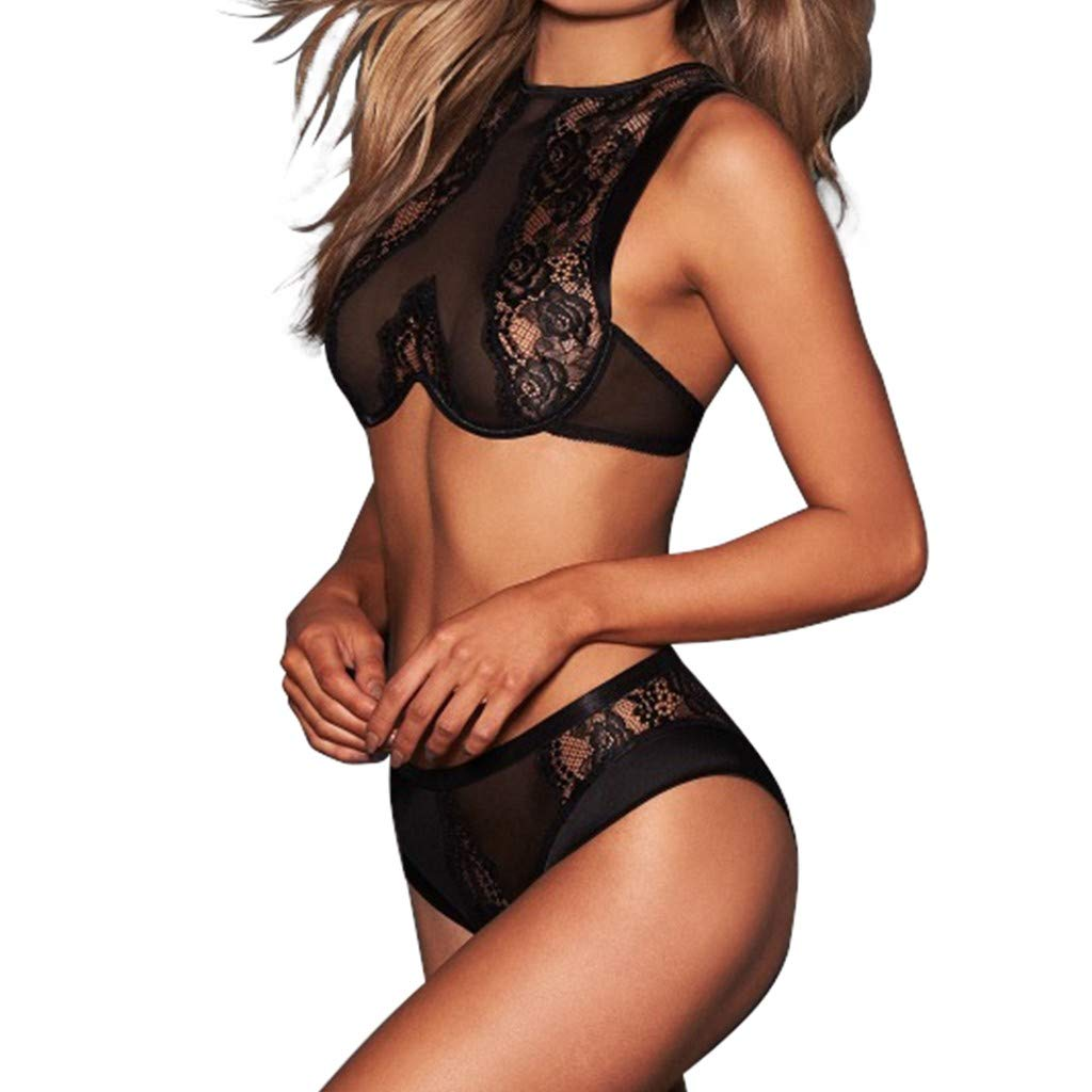 BOLUOYI Women Sexy Lingerie Set Floral Lace Unlined Bralette Corset Lace Flowers Push Up Top Bra with G-String and Adjustable Suspender Garter Belt Sexy Ladies Underwear Nightwear