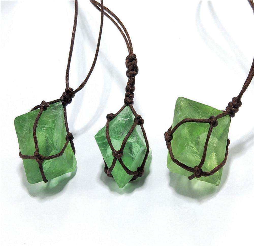 GVC Colgante de Cristal de Esmeralda Natural Varita de Piedras Preciosas curativas Reiki Collar de Trenza de Envoltura de fluorita Verde Yoga Macrame para Hombres Mujeres