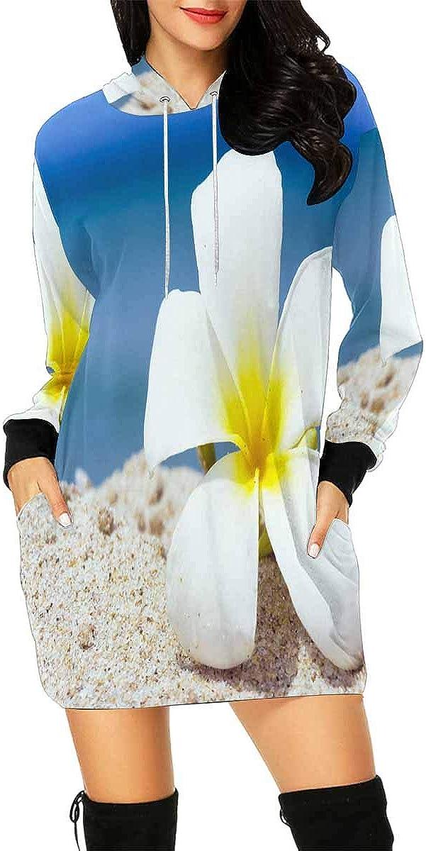 INTERESTPRINT Womens Mini Hoodie Dress with Kangaroo Pocket Tropical Flower Beach Casual Tunic Sweatshirt S