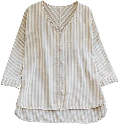 Camiseta de Gran tamaño para Mujer Camiseta con Cuello en V Camisa ...
