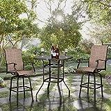VINGLI Outdoor Bar Table Bistro Table Metal Frame