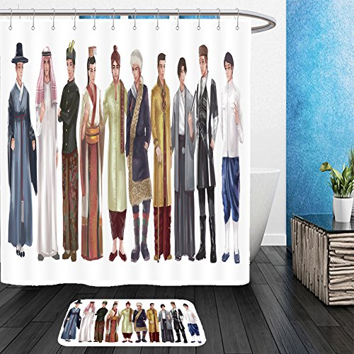 National For Asian Boys Costume (Vanfan Bathroom 2?Suits 1 Shower Curtains & ?1 Floor Mats cartoon illustration of asian male man traditional religion and national costume dress clothing 357508559 From Bath)
