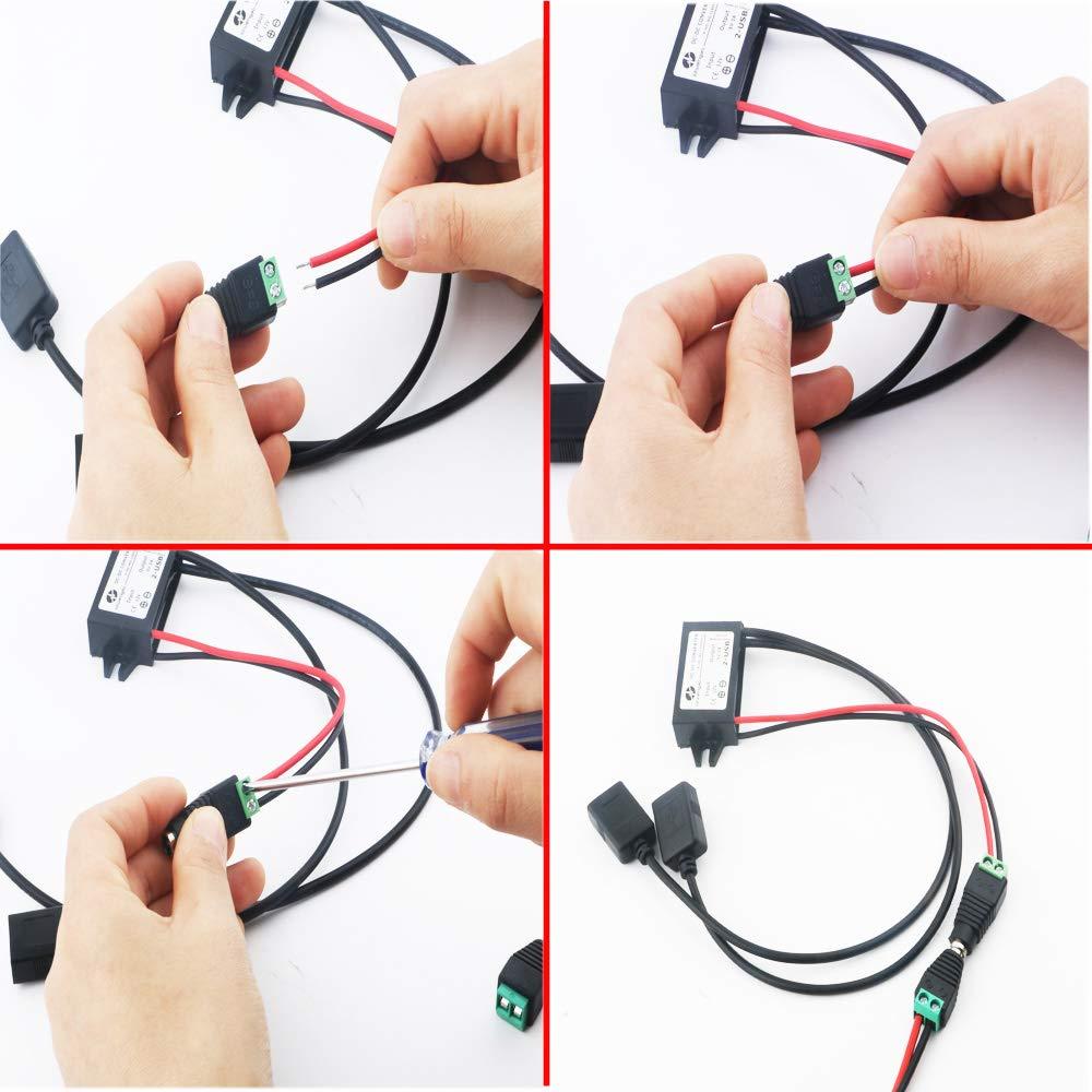 Barcos conversi/ón de tensi/ón. Motocicletas RUNCCI DC 12V a DC 5VDoble USB Voltaje Convertidor,USB Coche Voltaje Convertidor,Adecuado para autom/óviles
