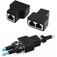 SUPTEMPO 1 a 2 Adaptador de divisor de puerto dual hembra RJ45 Adaptador de conector de divisor de zócalo Ethernet CAT 5 / CAT 6 LAN (adaptador RJ 45)