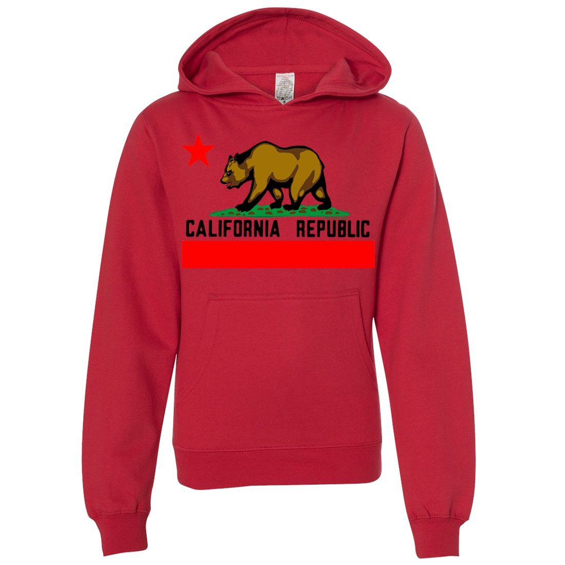 Dolphin Shirt Co California Republic Borderless Bear Flag Black Text Youth Sweatshirt Hoodie