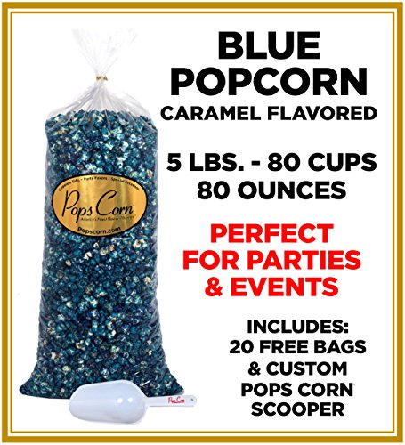 Gourmet Pops Corn It's a Boy-BULK/WHOLSESALE BLUE POPCORN-5 GAL.-80 CUPS-80 OZ-FREE SCOOPER!! (Blue Caramel)