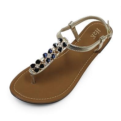 7d3957974a2ba Amazon.com   H2K 'Clover' Women's Comfy [Lightweight] Thong Sandals ...